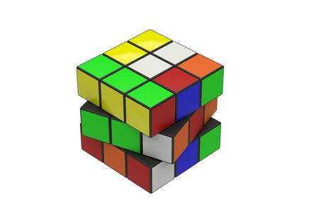 3d renderring rubik on white background