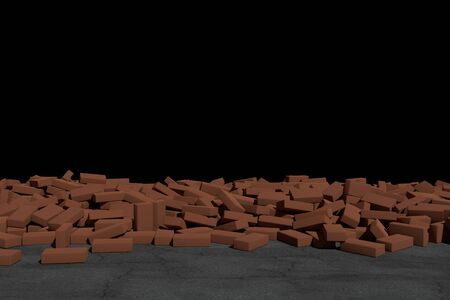 3D rendering Destruction of a brown brick wall on black background