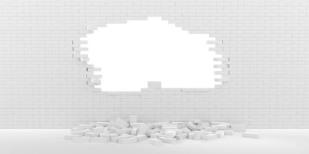 3D rendering Destruction of a white brick wall on white background 写真素材 - 132631685