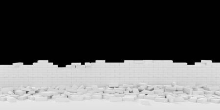3D rendering Destruction of a white brick wall on black background 写真素材 - 132630730