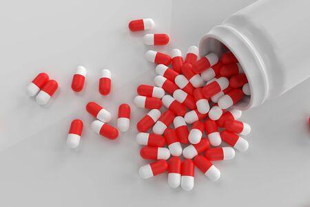 3d rendering bottle pill on white background