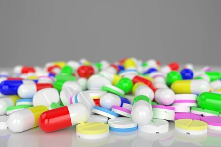 3d rendering pill on white background 写真素材