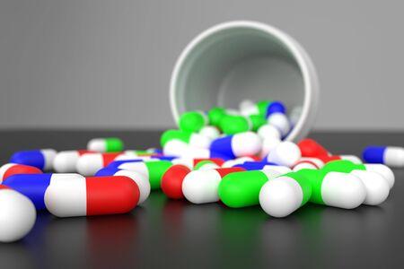 3d rendering bottle pill on black background 写真素材