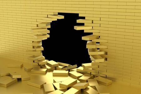 3D rendering Destruction of a gold brick wall on black background