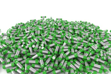 3d rendering lot of battery on white background