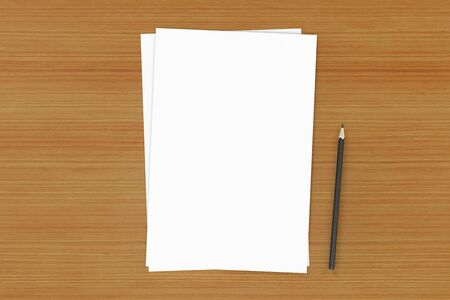3d rendering paper and pencil on table background