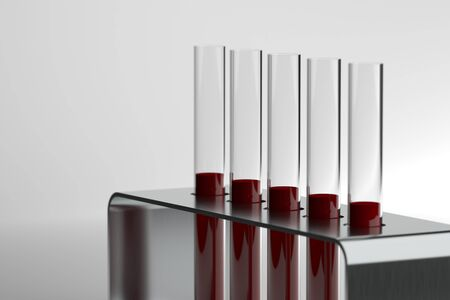 3d rendering test tube with blood on white background