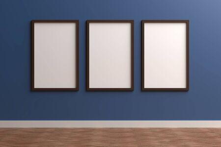 3d render black Photo frame on color wall