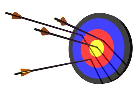 3d rendering arrow fly to target on white background Stock Photo