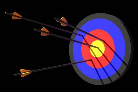 3d rendering arrow fly to target on black background Stock Photo - 141250075