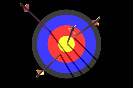 3d rendering arrow fly to target on black background Stock Photo