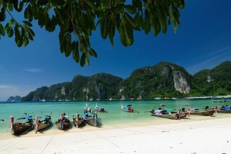 phuket: Tropical beach, traditional long tail boats, Andaman Sea, Thailand