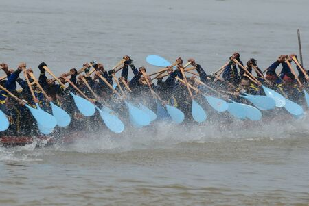 Longboat racing in Chao Phraya River,Nonthaburi Province,Thailand photo