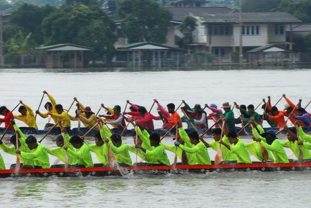 Nonthaburi,Thailand - November 6, 2010 : Long Boat Racing for the King's Cup, with a crew of 30 paddlers on each boat.