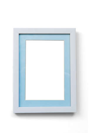 White wood frame and Blue Picture frame cutting 45 degree on white background