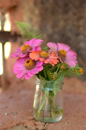Flowers in vase at Earthen House photo