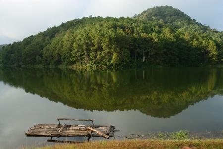 Bamboo Raft  on the water at Pang-Ung, Mae-Hong-Son, northern part of Thailand.