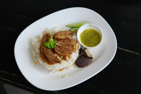 Chinese Five Spiced stewed duck on cooked rice,delicious and very popular Thailand