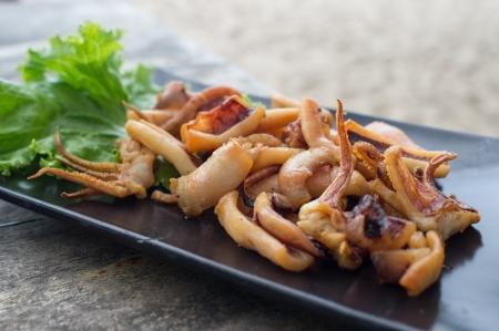 Thai Fried Sun Dried squid Stock Photo