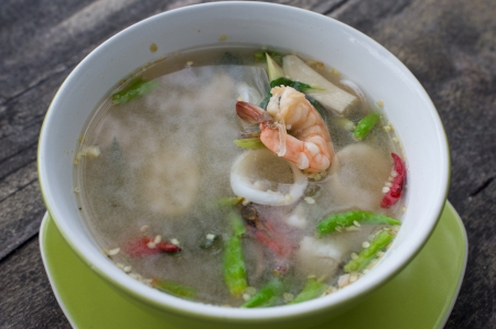 Authentic Tom Yum soup, with shrimp and squid Famous Thai Thai Food  photo