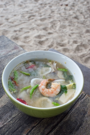 Authentic Tom Yum soup, with shrimp and squid Famous Thai Thai Food