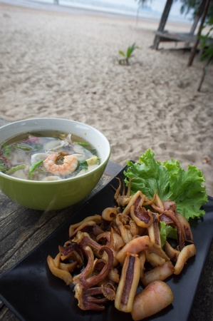 Authentic Tom Yum soup and Thai Fried Sun Dried squid