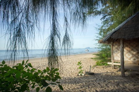 bamboo hut on the sandy beach
