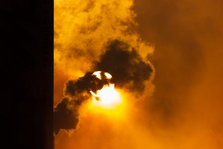 evaporacion: The foggy evaporation at sunset, background, frozen dusk