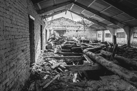 lumber mill: Black and white - abandoned lumber mill, the dirt, dust and the old board, wide angle Stock Photo