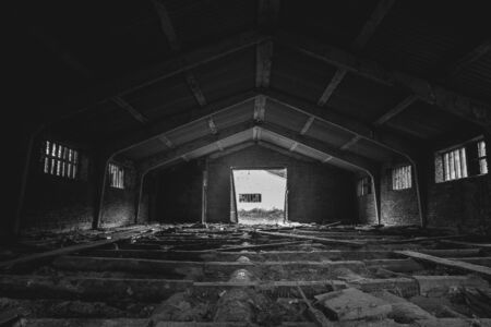 lumber mill: Black and white - old abandoned lumber mill, wide angle