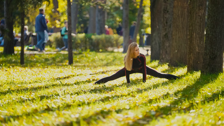 Young fitness female model Exercising in a Meadow at autumn park, Sports Outdoor Activities concept - flexibility, telephoto