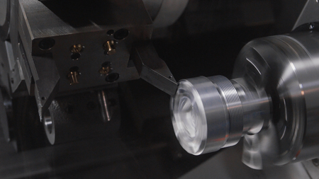 metal working: Rotated mechanism - processing of metal working, industrial background, close up
