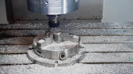 metal working: Process of metal working and machine manufacturing - automotive drilling machine, closeup