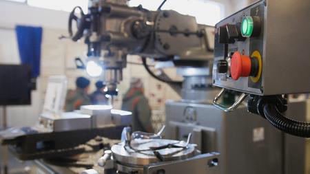 lathe machine at factory - machinery industry, close up view Stock Photo