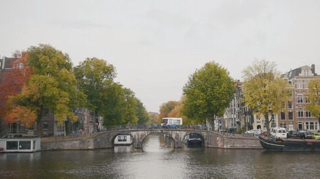 amstel: Canal in Amsterdam, Amstel river, Holland, Netherlands