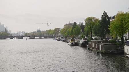 hidef: Vessels and houseboats along canals, Amsterdam, Netherlands