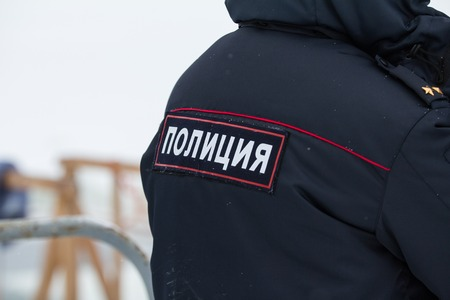 Russian police - emblem on the back, close up