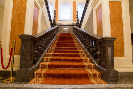 KAZAN, RUSSIA - 16 JANUARY 2017, City Hall - luxury and beautiful touristic place - stairwell at the entrance Editorial