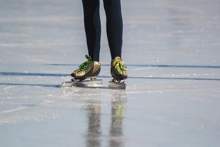 iceskates: Ice skates, winter sport - green colourful boots