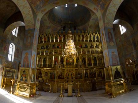 felice: Kazan, Russia, 9 february 2017, Zilant monastery - Inside Christian Church - golden ceiling