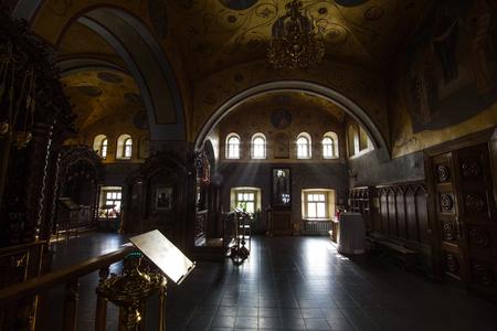 Kazan, Russia, 9 february 2017, Zilant monastery - Inside Christian Church - orthodox church at sunny day, silhouette Editorial
