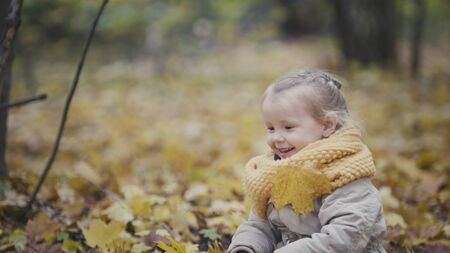 Little happy cute girl plays in autumn park among yellow leaves