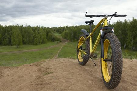 Fat bike - dirty bicycle outdoor, horizontal