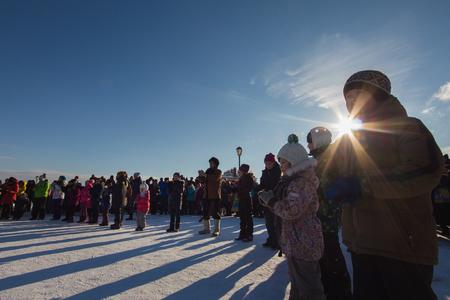 maslenitsa: Kazan, Russia - 28 february 2017 - Sviyazhsk Island : Russian ethnic carnival Maslenitsa -People lined up in a circle for winter games Editorial