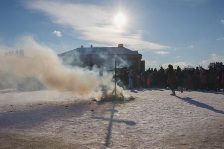 Kazan, Russia - 28 february 2017 - Sviyazhsk Island : Russian ethnic carnival Maslenitsa -Smoke from a burned stuffed winter