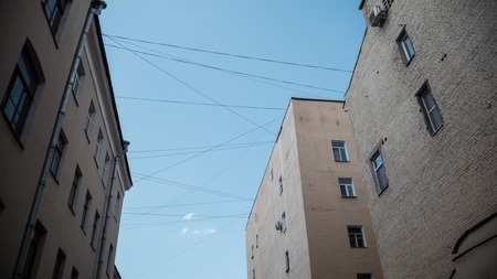 st: St Petersburg courtyards. Bottom-up view Stock Photo