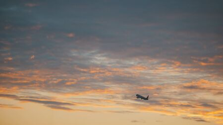 Passanger aircraft takes off into sky from international airport