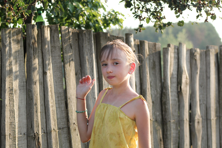 plucking: Little girl is eating Saskatoon berries near wooden fence - summer Russian village