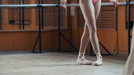 Close up of a ballet dancers feet - point exercises