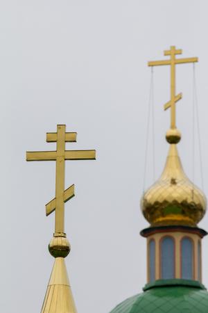 Golden orthodox cross Stock Photo